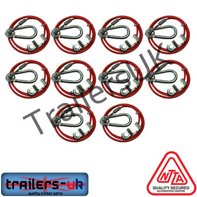 10 x Trailer/Caravan Breakaway Safety Cable 3mm for Knott Coupling *FREE DEL*