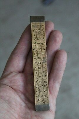 Scarce Antique Boxwood Milliners Hat Slide Rule