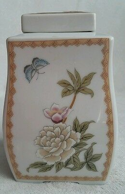 Chinese Asian Porcelain 4 Sided Pot Jar. Stamped. Birds Flowers Butterfly