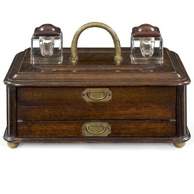 Unusual Victorian Oak Inkwell and Writing Desk Box, England, Late 19th Century