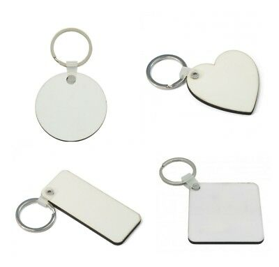 100 Mixed x Blank Sublimation MDF Assorted Key Rings