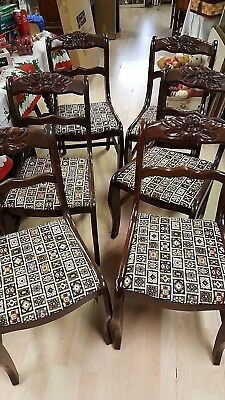Set of 6 Duncan Phyfe Dining Room Chairs Mahogany Needlepoint Fabric Rose Cut
