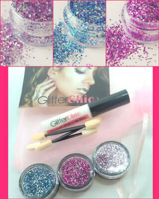 Festival Mix TRIO Glitter Pot-Nail Face Eye Body Tattoo Dance Club Cosmetic Glue