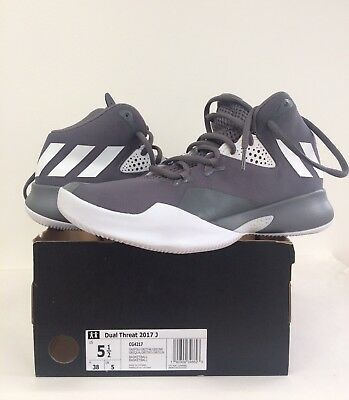 info for f876c 2c4c1 New Adidas Youth Performance Kids Dual Threat 2017 J Grey Basketball Shoes  ...