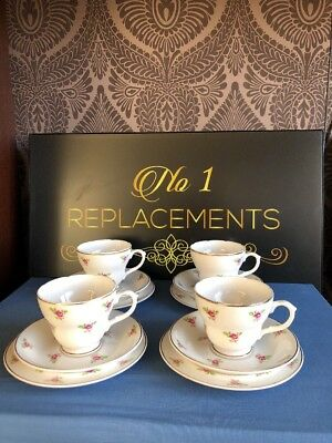 4 x Place Setting Sheriden Bone China Roses Tea Cups Saucers And Side Plates