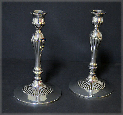 Elegant Pair Marked Spanish Solid Silver Candlesticks Baroque Style No Reserve