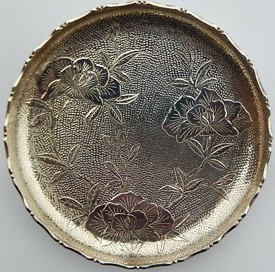 Fine Antique Chinese Export Solid Silver Dish or Coin Tray; Wai Kee; c1910