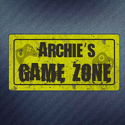 Personalised Game Zone Metal Plaque - Gamer Grunge Stick on Door