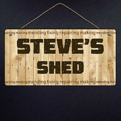 Personalised Shed Sign - Metal Plaque Garden Shed Wood Fix tool DIY Dad gift