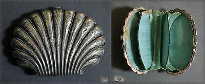 Collectible French 19Th Century Shell Shaped Solid Silver Money Purse Box Etui