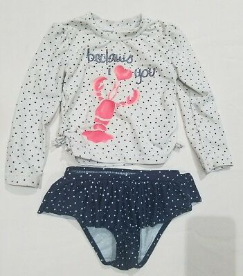 Rashguard Swim Bathing Suit Swimsuit 2PC Toddler Baby Girl 18-24m Nautical