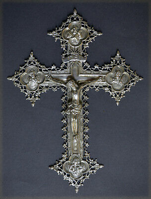 Neo-Gothic Spanish Solid Silver Corpus Christ And Cross Marked Vintage