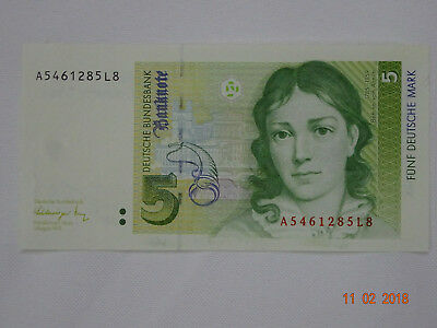 Geldschein 5 D-Mark 1991 Deutsche Bundesbank Bettina von Arnim