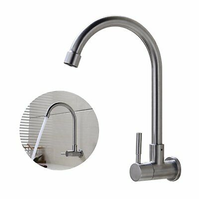 1 pc Kitchen Swivel Spout Single Handle Sink Faucet Stainless Steel Single Lever