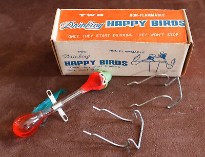 Vintage Rare TWO Drinking Happy Birds Box with One Bird