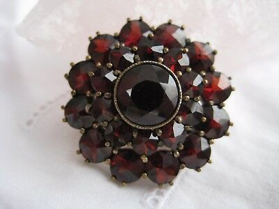 Granat Brosche, vergoldet Art deco böhmische Granate antique gilt garnet brooch