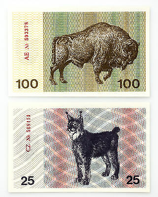 Set of 2 Lithuania 25 Tal. lynx  and 100 Tal. bison 1991 Au-Unc.