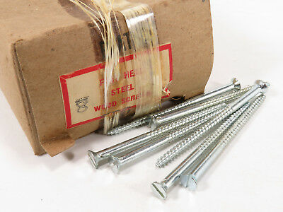 "NOS #8 x 3"" Slotted Nickel Plated Flat Head Wood Screws 1.5 LB"