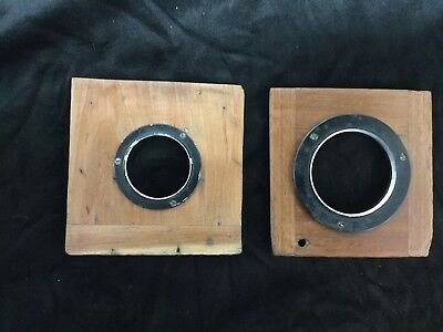 2 Antique Mahogany Wood Lens Boards