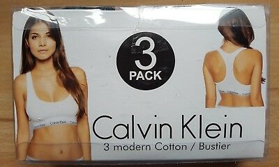 bustier gr m calvin klein 3er pack set wei grau schwarz. Black Bedroom Furniture Sets. Home Design Ideas