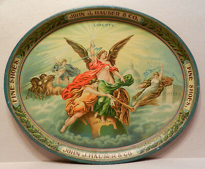 GREAT graphics early Patriotic tray John J Hauser Co. Fine Shoes Allentown, Pa.