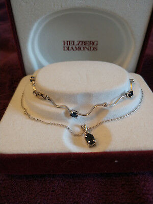 10k white gold Sapphire and diamond necklace and bracelet set