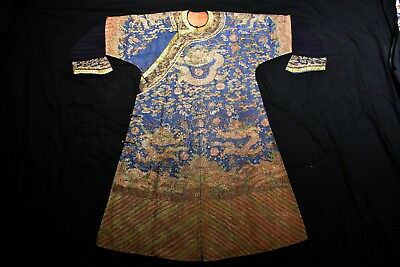 Real KESI 19th C Antique Chinese Dragon Robe Silk Embroidery not Rank Badge