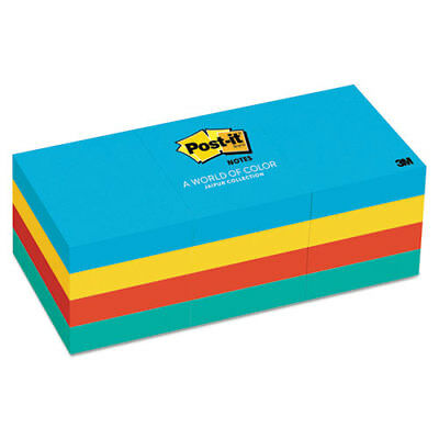 Post-it Notes Original Pads in Jaipur Colors, 1 1/ 2x2, 100-sht, 12pk