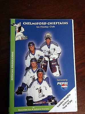 Chelmsford Chieftains V London Knights Programme 18/01/2001 & March Ticket Stub