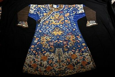 Amazing 19th C Antique Chinese Dragon Robe Silk Embroidery not Rank Badge