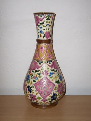 Art Nouveau Faience 29Cm Bottle Vase In Iznik Style, Fischer Or Zsolnay, 20Th C.