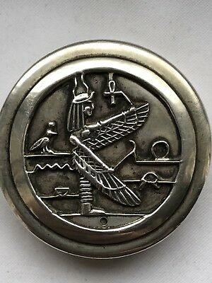 Antique Egyptian Hallmark Sterling Silver Pill Box