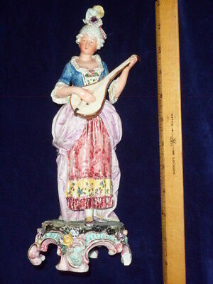 Large Antique French Porcelain Figurine Of Minstrel -  11 inches tall - France
