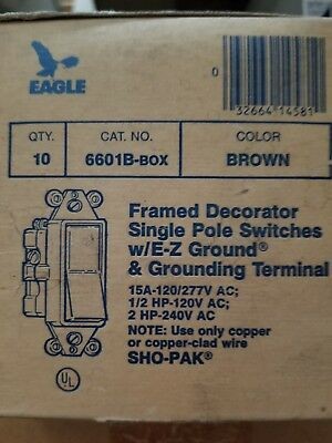 Eagle Electric 6601B-BOX Framed Decorator Single Pole Switch, Brown, (10)