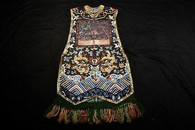 19th C Antique Chinese Dragon Robe Vest Jacket Coat Silk Embroidery Rank Badge