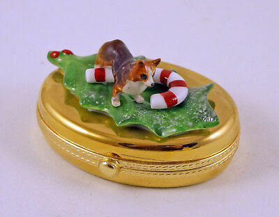 New French Limoges Trinket Box Cute Corgi Dog Puppy On Christmas Holly