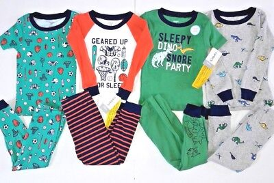 8 piece LOT of Baby Toddler Boy Carter's Pajamas size 24 months NWT Sports Dinos