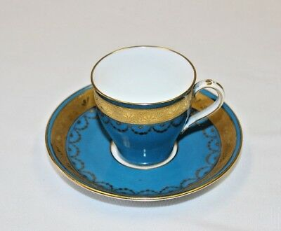 Mintons Cup & Saucer England Bone China Gold Beaded Enameled Blue & Gold