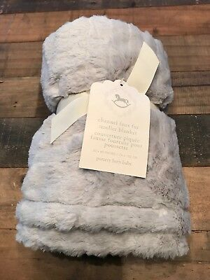 NWT Pottery Barn Kids Baby Channel Faux Fur gray baby blanket Super Soft!