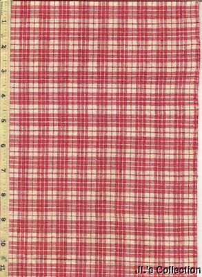 """Red & White Woven Cotton Check C1870 2/3 Yd 29"""" W"""
