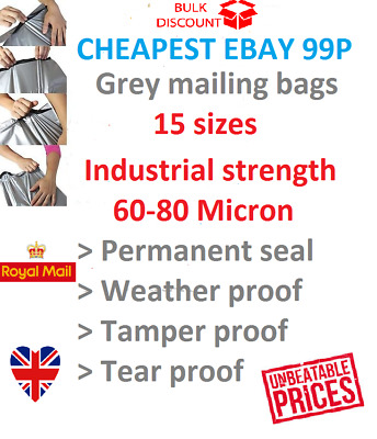 mailing bags postal bags mail bags poly bags grey small-large INDUSTRIAL STRENGT