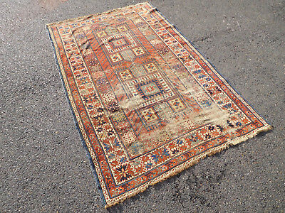 Antique Caucasian Shirvan All natural dyes distressed lovely carpet Worn 4x6.2
