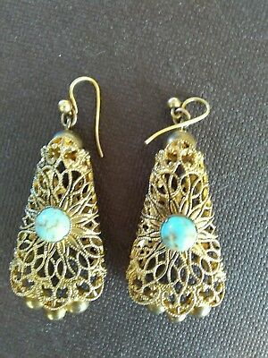 An Attractive Pair Of Vintage/antique Filigree Earrings.turquoise Coloured Stone