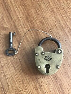 Antique Heart Collectable Old Brass Padlock For Trunk Box With KEY