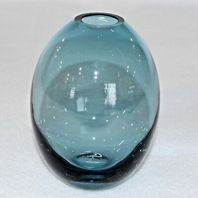 Studio Art Thick Glass Clear Teal Blue Small Modern Flower Bud Vase 4 3/4""