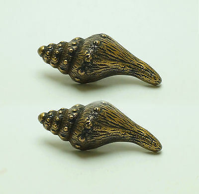 Lot of 2 pcs Vintage Sea Clam shell Pull Knobs Solid Brass Drawer Handle Pulls