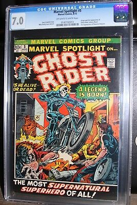 CGC 7.0 -MARVEL SPOTLIGHT #5 -1st App. GHOST RIDER   -Off White to White Pages