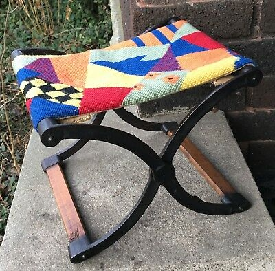 Vintage Cast Iron & Wood Folding Stool Upholstery Seat Buggy/Carriage Step