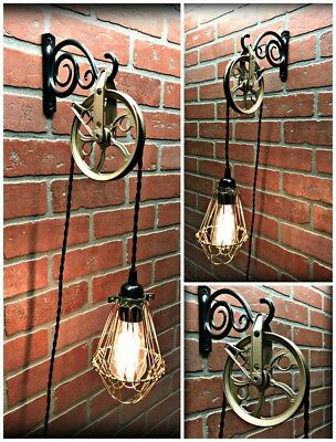 SaLe! Ornate Brass Pulley Wall light - Brass Trouble Light Cage Plug In  Dimmer