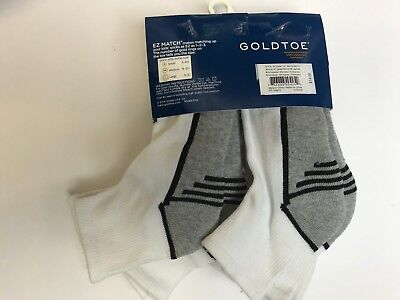 GOLD TOE Sport Quarter Socks Boys Large  (3-9) EZ Match White/Gray 6 Pairs A1303